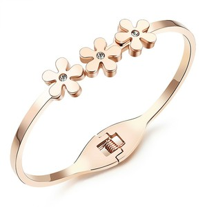 Marlary 316L Stainless Steel Crystal Cuff 18K Gold Bangle Rose Quartz Indian Bridal Bangle