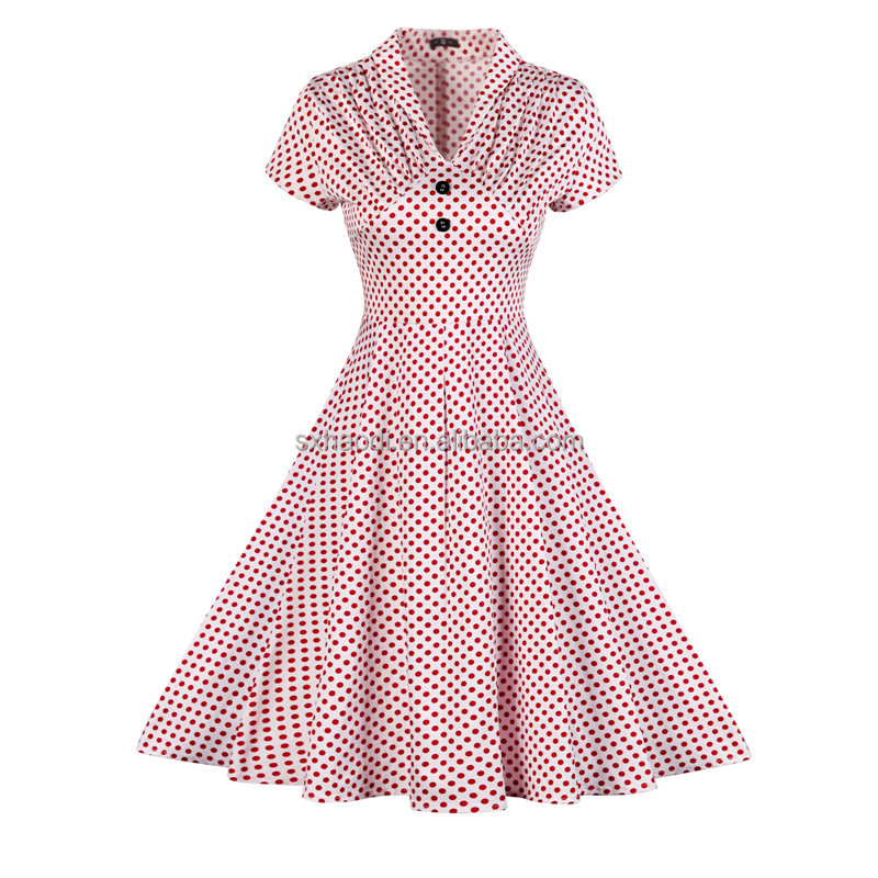 HD-102 Clothing Manufacturer Small Quantity Custom Vintage Women 50s 60s Pink Kitten Rockabilly Pinup Dress