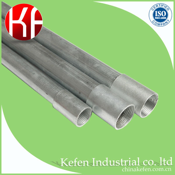 Australian Class 3 4M length Electro Galvanized Steel Screwed Round electrical Conduit pipe both end threaded