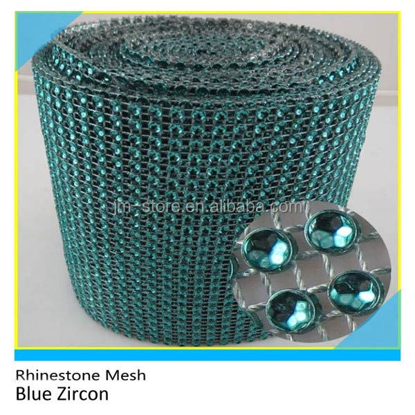 24 Lines Plastic Rhinestone Mesh Trimming Blue Zircon Round 4mm 10 Yards Roll