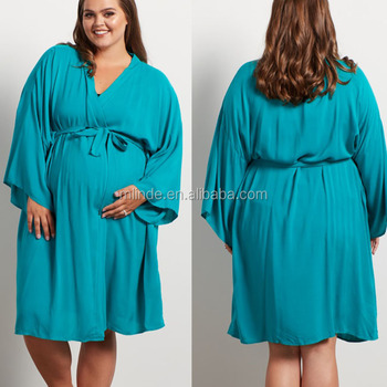 ddecf61c2 7xl Plus Size Mulheres Roupas de Enfermagem da Maternidade Robe Rayon  Sólida Entrega Elegante Design Feminino
