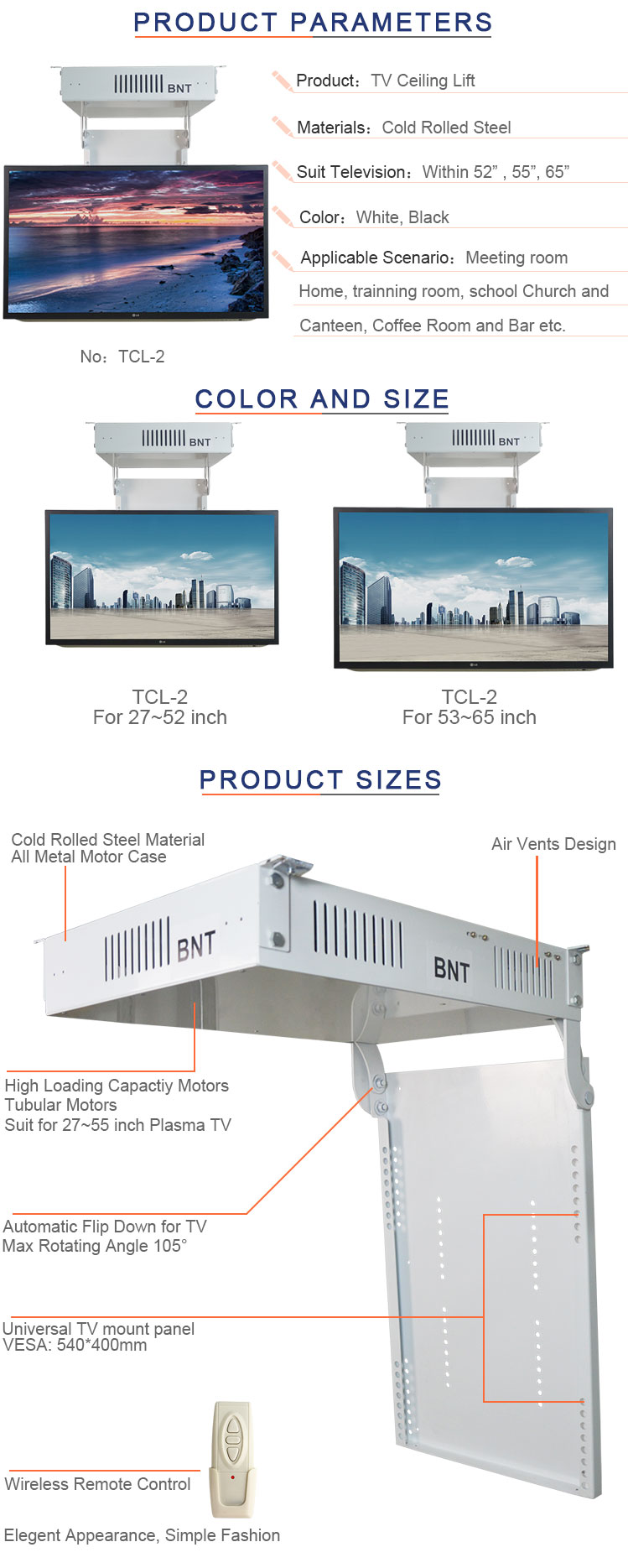 TV Ceiling Motorized Mounted Lift with Remote Control for Hotel/Family Bedroom Equipment