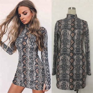 snake skin grain print long sleeve high neck bodysuits 2018 autumn women street fashion sexy snakeskin bodysuit