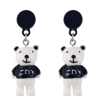 Creative Gift For Girls White and Black 3D Bear Drop Earrings