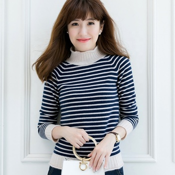 New fashionable blue and white striped turtleneck cashmere sweater
