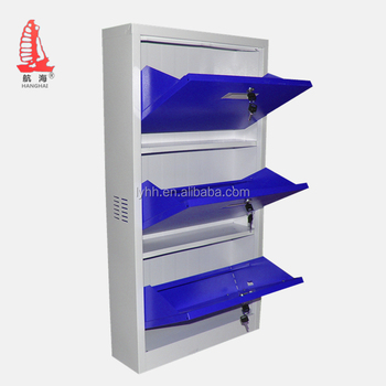 Stainless Steel Shelves Shoe Rack Locking Vertical 3 Door Metal Shoes  Storage Cabinet In Blue