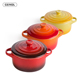 two handle round mini cocotte with lid heat resistant ceramic color enamel casserole
