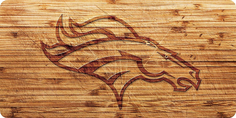 Denver Broncos Wood Style License Plate