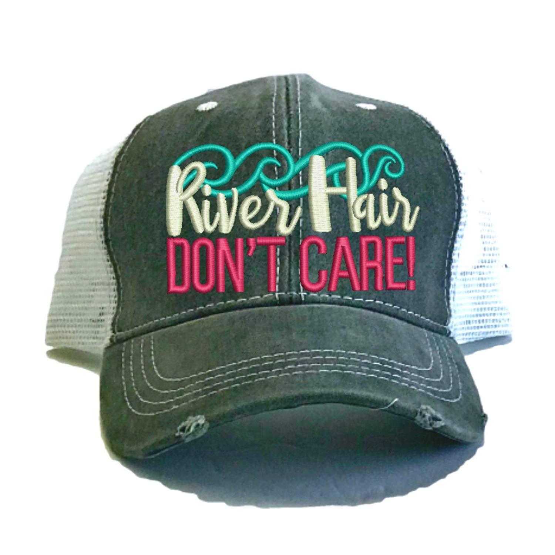 Adult Custom Funny Trucker Hat River Hair Don't Care Boat/River Hat Summer Baseball Cap