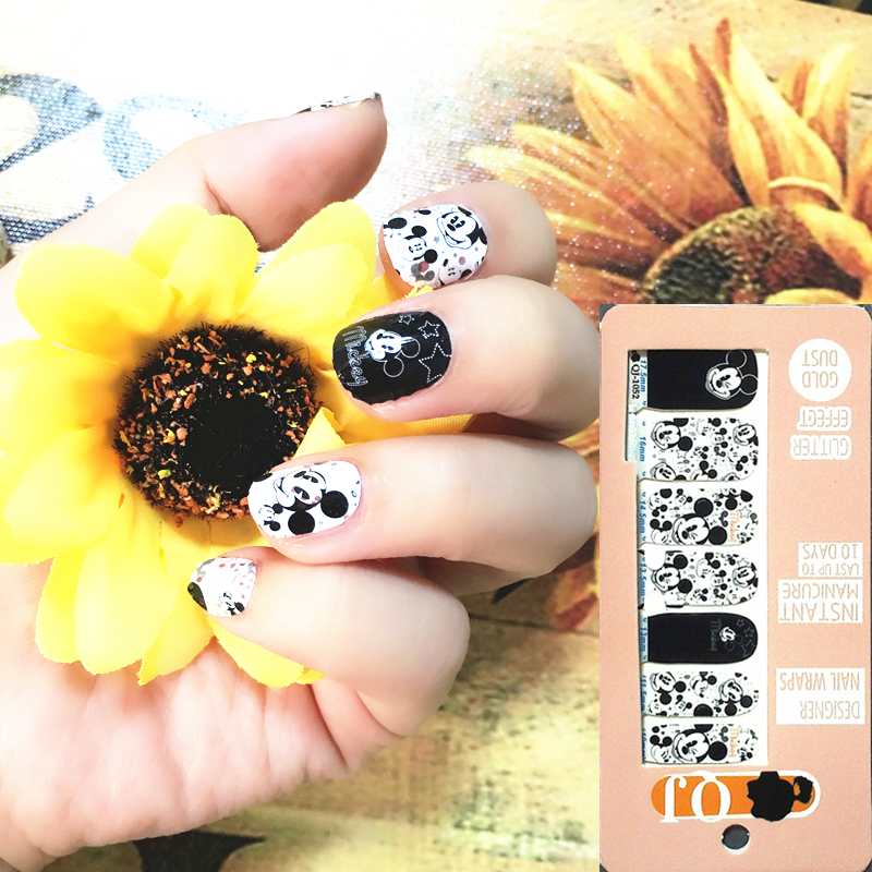 Black White Cartoon Mouse Nail Arts Nail Sticker Waterproof Nail Decal Sticker Gel Polish French Manicure