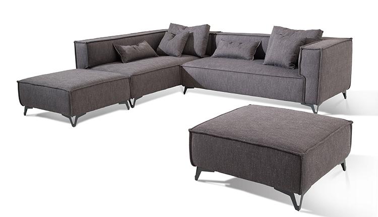 Grey Linen Big Armrest China Supplier Simple Sectional Sofa