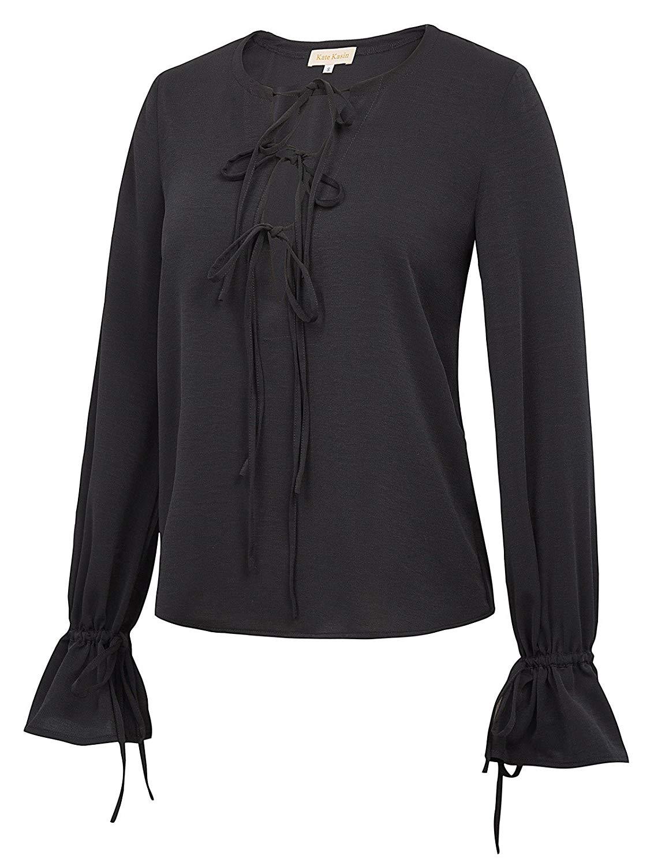 bb7de93288dfe4 Get Quotations · Kate Kasin Women s Bell Sleeve Blouse Tops Long Sleeve  Shirt Bow Tie Neckline