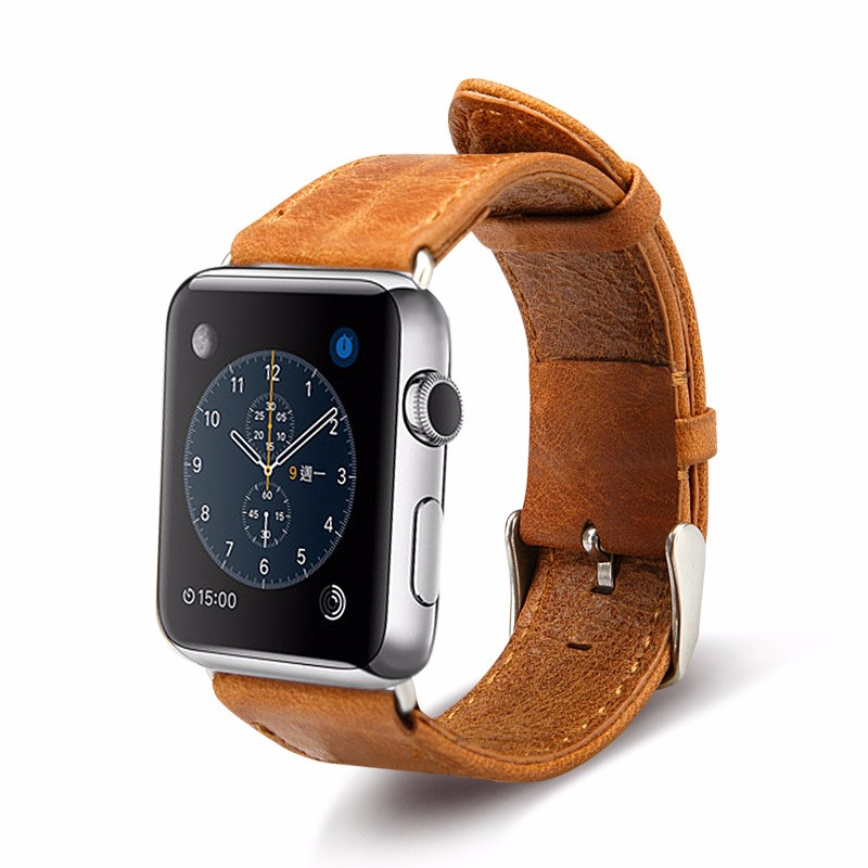 First Layer Cowhide Leather Wristband Watch Band for Apple Watch Replacement 38mm 42mm