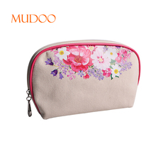 Flower Pattern Canvas Cosmetic Bag Shell Shape Beauty Pouch for Lipstick
