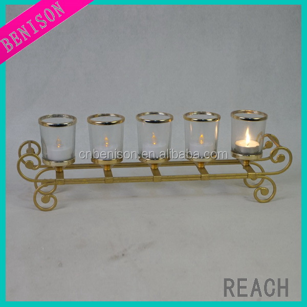2017 Xmas tealight gold candle holder with five cups