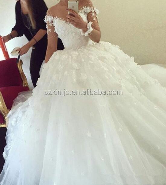 2018 Long Sleeve Off Shoulder 3d Flowers Lace Arabic Wedding Dress ...