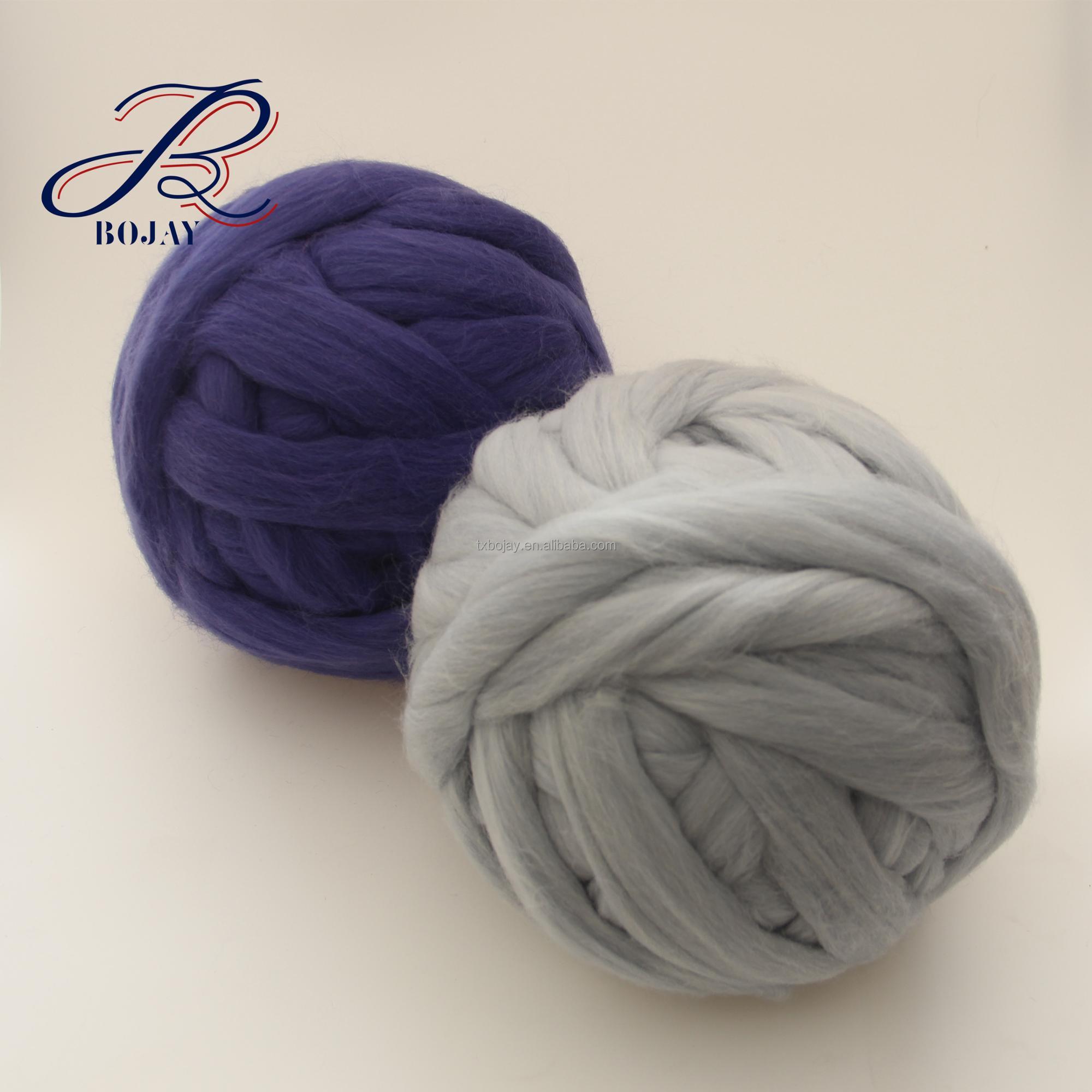 Factory Wholesale and Retail 66s 21 micron 100% Australia Super Chunky Merino Wool Roving Yarn