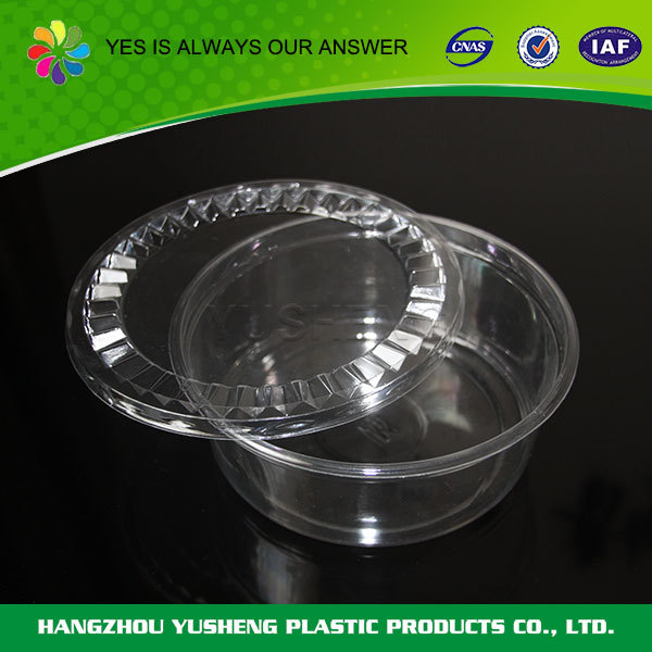 Transparent disposable cylindrical plastic container