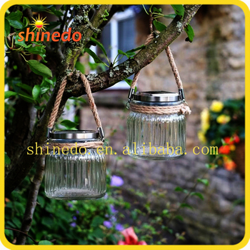 Hanging Garden Decorative Clear Glass Mini Sun Jar Lamp With Hemp Rope