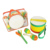 Percussion set marching drum with wood mallets yellow and orange children drums