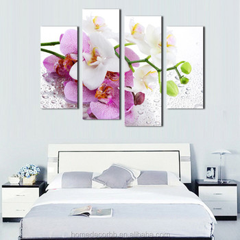 Latest Fl Wall Art Painting 4 Set Flowers Design View Canvas Print Living Room Decoration Paintings