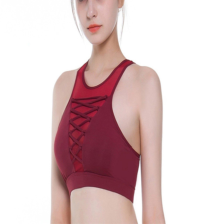 740ecdd6ed Get Quotations · Mistere 2018 Yoga Sports Underwear Ladies high Collar mesh  Bra Sports Bra