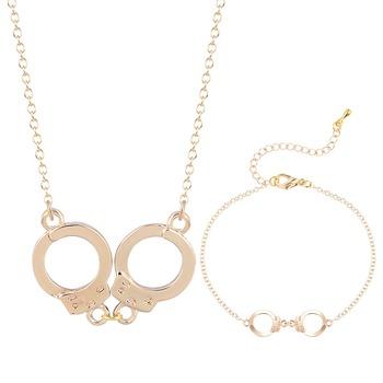 Dainty punk style collar handcuff pendant necklace bracelet dainty punk style collar handcuff pendant necklace bracelet commitment jewelry gift for women girls jewelry set aloadofball Image collections