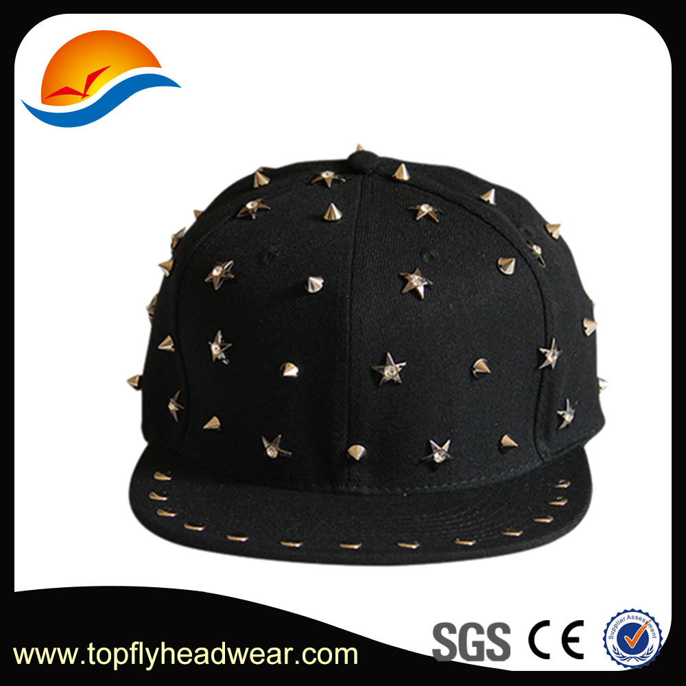 Custom High Quality Promotional Cheap Fashion Metal Star Logo Snapback Cap/ Hat Wholesale