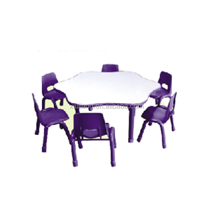 indoor various shapes plastic school desk and chair toys table for children