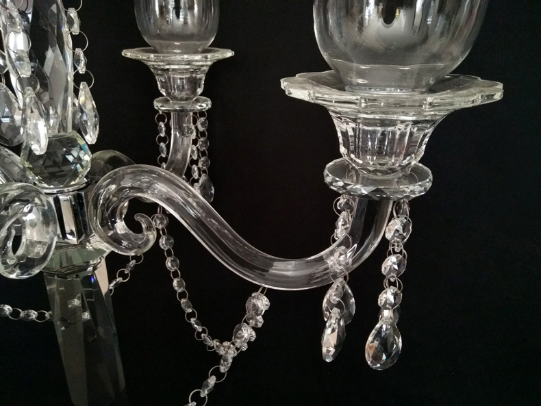 DL-RTS022 Beautiful 90cm Height Glass Hurricane 9 arms crystal wedding centerpiece long-stemmed glass Candle Holders hurricane