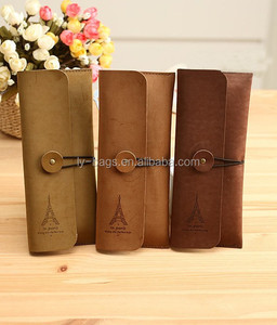 Wholesale Custom High Quality Velour leather Pencil case Roll Up toll Pencil Bag
