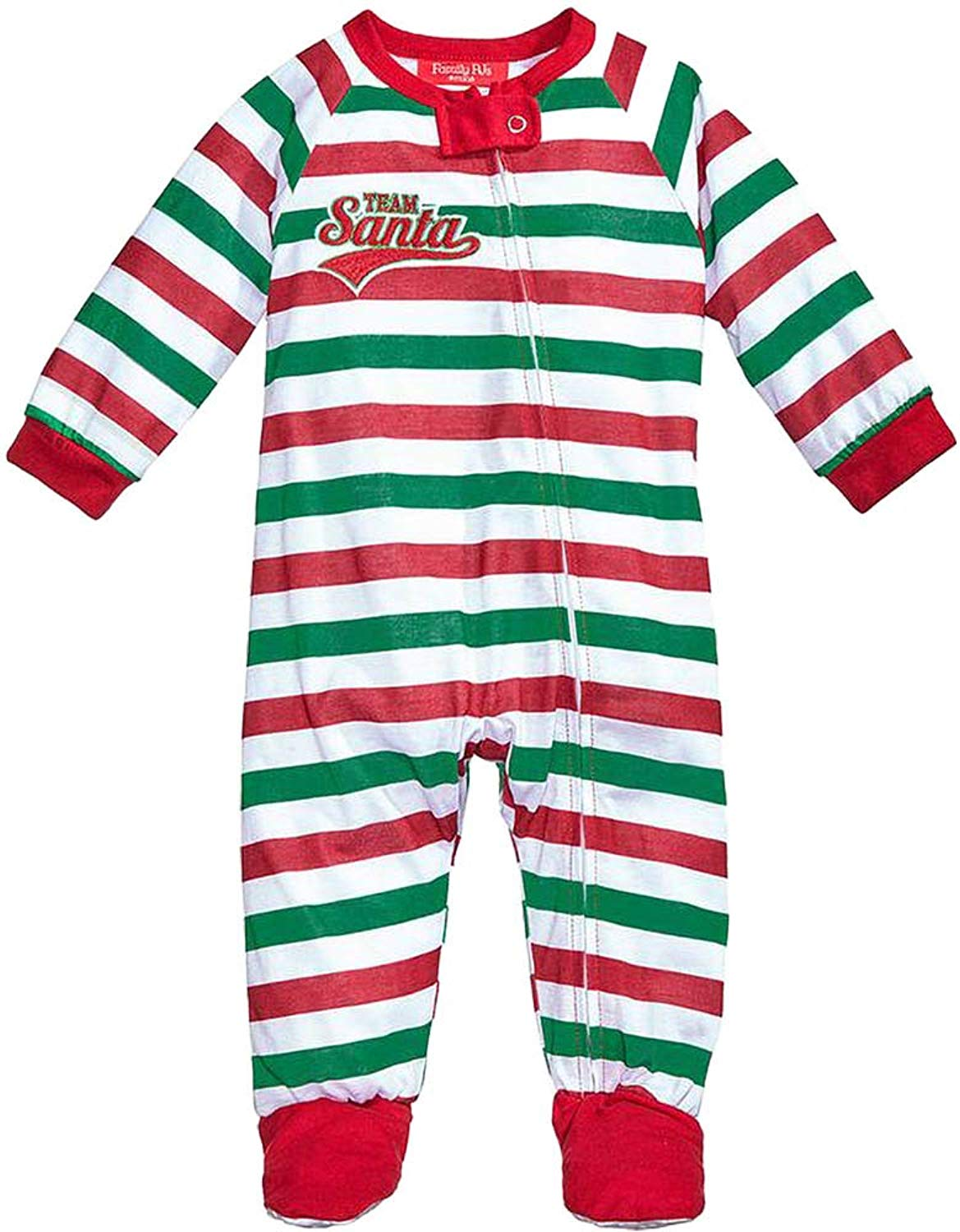 aea3ead862 Get Quotations · Family Pajamas 1-Pc Team Santa Footed Pajamas Red Green  Striped 12 Months
