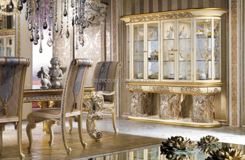 Luxury Dining Room Wine Cabinet/Display Cabinet, Baroque Style Four Door Glass  Display Cabinet