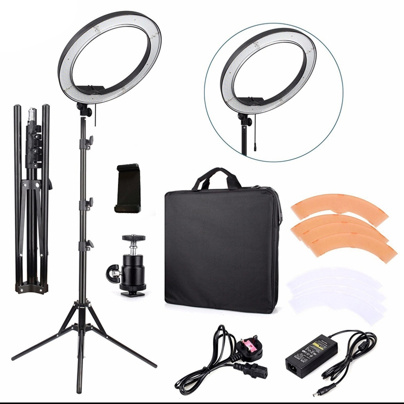 Photography Photo Studio 480 LED Ring Light 5500K Dimmable Camera Ring Light 18 inch Lamp with Tripod Stand