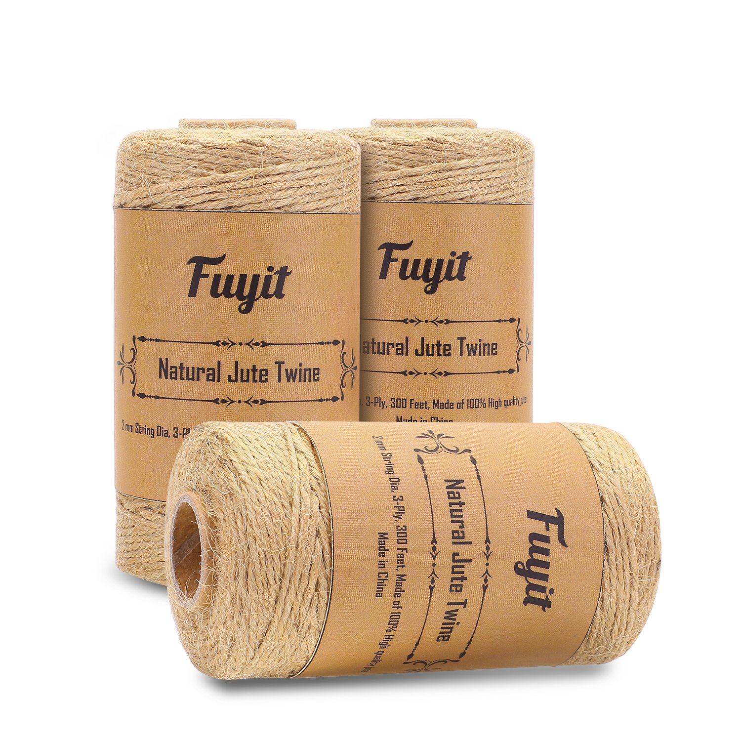 Fuyit 3 Pcs Natural Jute Twine String 1000 Feet Arts and Crafts Jute Rope Cord Heavy Duty Industrial Packing Materials Packing String for Gifts,Festive and Gardening