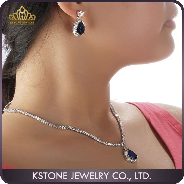 Women Bridal Wedding Jewelry Sets Gold Cubic Zirconia Pendant Necklace Earrings