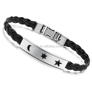 eco-friendly good quality imported wristbands cheap leather bracelets with religion symbol