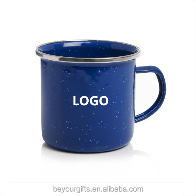 Logo printed mugs custom Enamel Cup with Handle