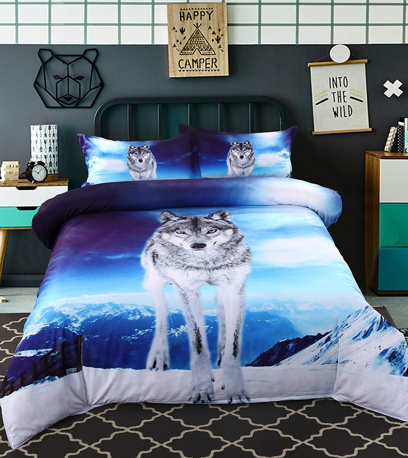 Alicemall 3D Wolf Bedding Super Cool Wolf Standing on the Snow Mountain Blue Bedding Set, 4 Piece Wolf Print Bedroom Sheets Set, King Size Duvet Cover Set (King, Blue)