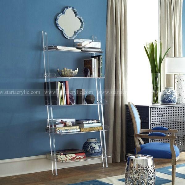 Acrylic Leaning BookshelfAcrylic Display Shelf For Towel Art Book CosmeticClear Storage Tray Home