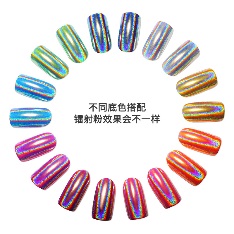 Pinpai brand <strong>glitter</strong> rainbow holographic chrome <strong>nail</strong> <strong>powder</strong>