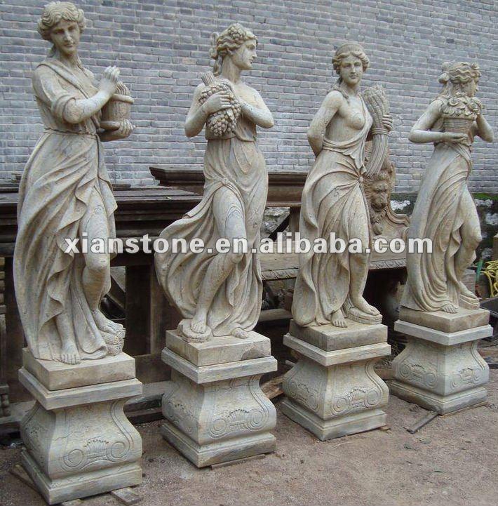 أربعة تماثيل الحديقة الموسم-الحرف الحجرية-معرف المنتج