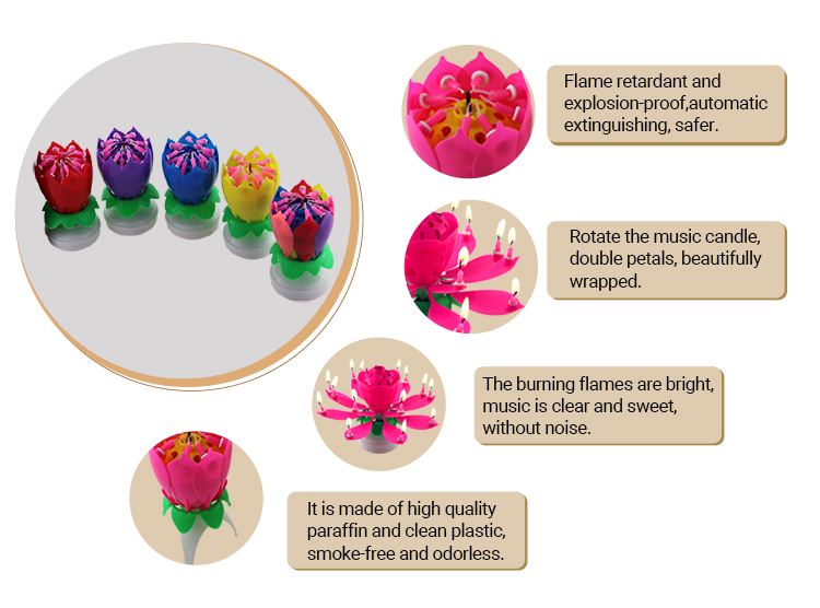 Cheap Price Fireworks Rotating Lotus Musical Flower Cake Candle