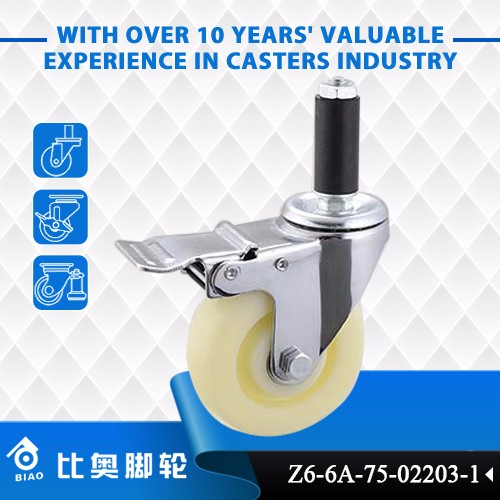 "Professional 4"" Zhongshan Expanding Adapter Stem Caster With Total Brake"