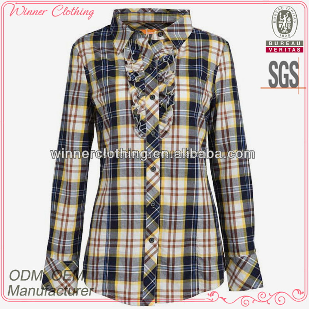 2013 Ladies' fashion long sleeve cotton check with ruffle at front blouse back neck womens semi formal tops and blouses