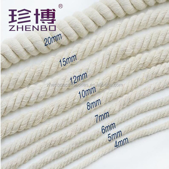 Zhenbo 4-20mm 100% cotton cord Recycled Material Twist Cotton Rope For Sale