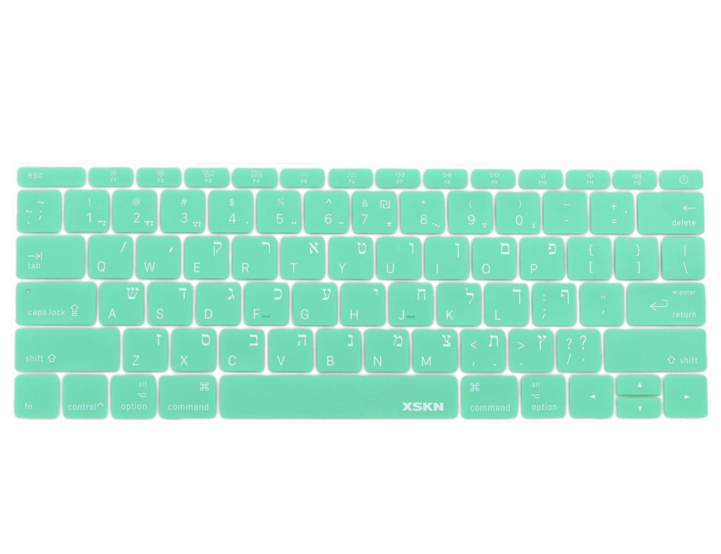 XSKN Hebrew Language Keyboard Cover Silicone Skin for Macbook 12 Inch with Retina Display US Layout - Mint Green