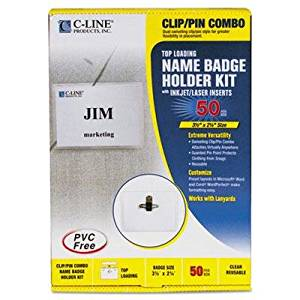 """C-Line - Badge Holder Kits Top Load 2-1/4 X 3-1/2 White Combo Clip/Pin 50/Box """"Product Category: Labels Indexes & Stamps/Identification Badges"""""""