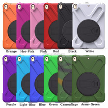 2017 360 degree stand rotating kickstand case cover for iPad mini 1 /2 /3 , PC + Silicone shockproof hot selling with band strap
