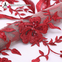 wholesale fashion red embroidered bridal fabric african lace fabrics embroidery